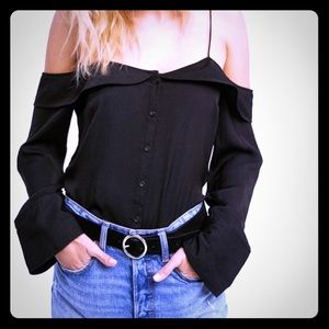 """Free People New """"Walk this way"""" Top Black Xsmall"""